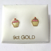 9ct Gold enamelled Cupcake stud earrings